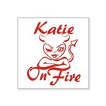 Katie On Fire Square Sticker 3
