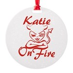 Katie On Fire Round Ornament