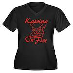 Katrina On Fire Women's Plus Size V-Neck Dark T-Sh