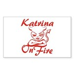 Katrina On Fire Sticker (Rectangle)