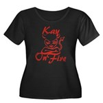 Kay On Fire Women's Plus Size Scoop Neck Dark T-Sh