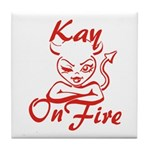 Kay On Fire Tile Coaster