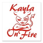 Kayla On Fire Square Car Magnet 3