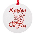 Kaylea On Fire Round Ornament