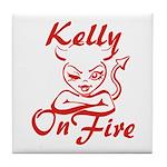 Kelly On Fire Tile Coaster