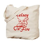 Kelsey On Fire Tote Bag