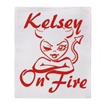Kelsey On Fire Throw Blanket
