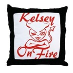 Kelsey On Fire Throw Pillow