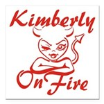 Kimberly On Fire Square Car Magnet 3