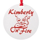 Kimberly On Fire Round Ornament