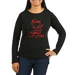 Kim On Fire Women's Long Sleeve Dark T-Shirt