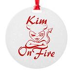 Kim On Fire Round Ornament
