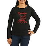 Kristin On Fire Women's Long Sleeve Dark T-Shirt