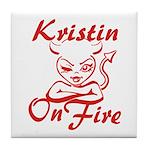Kristin On Fire Tile Coaster