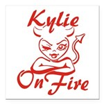 Kylie On Fire Square Car Magnet 3
