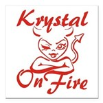 Krystal On Fire Square Car Magnet 3