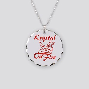 Krystal On Fire Necklace Circle Charm