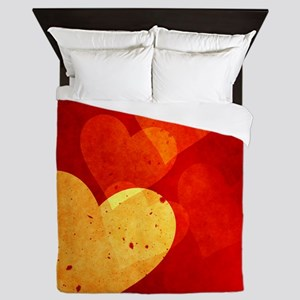 Red and Yellow Vintage Hearts Queen Duvet