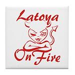 Latoya On Fire Tile Coaster