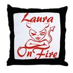 Laura On Fire Throw Pillow