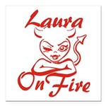 Laura On Fire Square Car Magnet 3