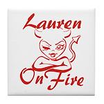Lauren On Fire Tile Coaster