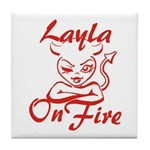 Layla On Fire Tile Coaster