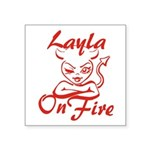 Layla On Fire Square Sticker 3
