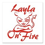 Layla On Fire Square Car Magnet 3