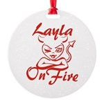 Layla On Fire Round Ornament