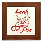 Leah On Fire Framed Tile