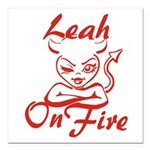 Leah On Fire Square Car Magnet 3