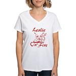 Leslie On Fire Women's V-Neck T-Shirt