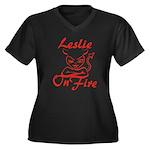 Leslie On Fire Women's Plus Size V-Neck Dark T-Shi