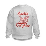 Leslie On Fire Kids Sweatshirt