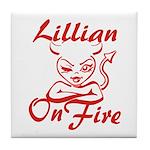 Lillian On Fire Tile Coaster
