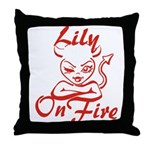 Lily On Fire Throw Pillow