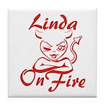 Linda On Fire Tile Coaster