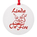 Linda On Fire Round Ornament