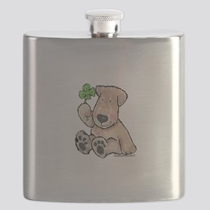 Wheaten with 4 leaf clover Flask