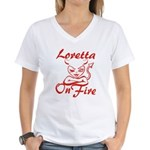 Loretta On Fire Women's V-Neck T-Shirt