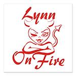 Lynn On Fire Square Car Magnet 3