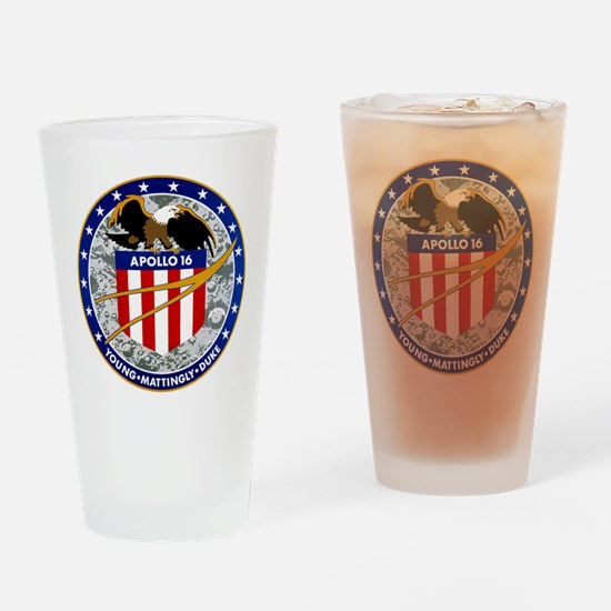 Apollo 16 Mission Patch Drinking Glass