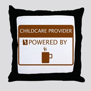 Childcare Provider Powered by Coffee Throw Pillow