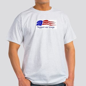 American Flag/Support Troops Ash Grey T-Shirt
