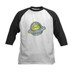 Space Alien Penguin Kids Baseball Jersey