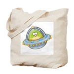 Space Alien Penguin Tote Bag