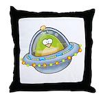 Space Alien Penguin Throw Pillow