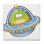 Space Alien Penguin Tile Coaster
