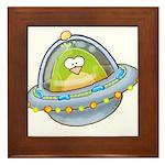 Space Alien Penguin Framed Tile
